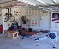 Crossfit style gym with olympic weights, jumping box, C2 rower, kettlebells, dumbbells, rings, and road bike with trainer