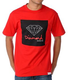 Get your shine on with the OG Sign t-shirt in the red colorway from Diamond Supply Co, featuring a custom big n' bold Diamond Supply Co front graphic that is all about smooth style made for the streets. So don't wait, grab the OG Sign t-shirt from Dia