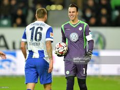 Julian Schieber of Hertha BSC and Diego Benaglio of VfL Wolfsburg during the game between VfL Wolfsburg and Hertha BSC on february 22, 2015 in Wolfsburg, Germany.