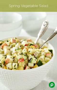 Spring Vegetable Salad: for those who've had enough of winter salads. Made with zucchini, yellow squash, sweet apple, fresh basil leaves, Parmesan cheese, lemon vinaigrette, and sunflower seeds. This Publix Aprons recipe can be on the table in 10 minutes or less!