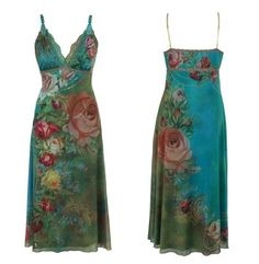 Splendid Turquoise and Green A-Line V-Neck High Waist Midi Dress Designed by Michal Negrin Made of Chiffon Lycra Crafted with Floral Pattern, Hand Dyed Lace Trim and Swarovski Crystals - Size S Michal Negrin,http://www.amazon.com/dp/B008N2RMDA/ref=cm_sw_r_pi_dp_X9aDrb86F1DE41AE