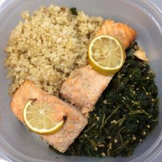"""Week 2, Day 8. Been slacking with my meal sharing. My lunch was baked salmon, brown rice/quinoa and garlic spinach sautéed in virgin coconut oil. 1 yellow, 2 red, 1 green and 1 tsp."" Pinned from 21Fix participant Sheryl"