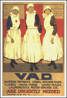 WWI British recruitment poster for the Voluntary Aid Detachment.