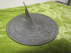 """Vintage BRONZE SUN DIAL """" Grow Old Along with Me The  Best is Yet To Be """"  Bird on Dial. Yard or Deck Decor** brass sundial by mauryscollectibles on Etsy"""