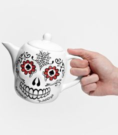 Celebrate Halloween or Day of the Dead with this Sugar Skull Teapot trendhunter.com