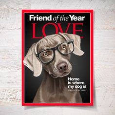 Weimaraner portrait on Time magazine cover poster by SparaFuori, $20.00
