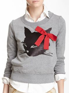 Printed Cat Sweatshirt- this speaks to me.