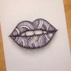 Zentangle lips! next week is test week for me so wish me luck (also I should've studied when I was drawing oops) comment what you think?