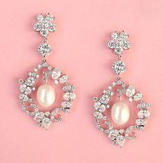 FREE SHIPPING - Pearl Dangle Wedding Earrings. $79.95, via Etsy.