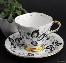 Vintage Royal Windsor England China Black Gold Leaves Vines Tea Cup & Saucer Set