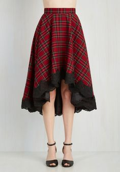 For Statement's Sake Skirt - Red, Yellow, Black, Multi, Plaid, Casual, 90s, Scholastic/Collegiate, Full, Fall, Special Occasion, Mid-length
