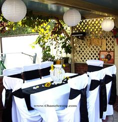 Dinner Party decorations - Black & White event for 50th Birthday Party