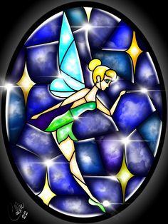 Stained Glass Tinkerbell by CallieClara.deviantart.com on @DeviantArt