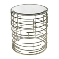 Sterling Industries Contemporary Sculptural Metal Work Side Table With Clear Glass Top