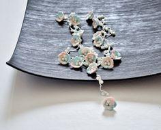 Pearl Beads Crochet Necklace Peach Mint Oya Flowers by ReddApple, $34.00