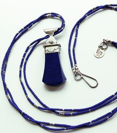 25% OFF Lapis and Sterling Silver Pendulum Necklace