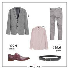 Szara dzianinowa marynarka świetnie współgra z klasycznymi spodniami i elegancką koszulą. Uzupełnieniem zestawu są burgundowe półbuty (6035-55) oraz pasek (5964-50) z kolekcji marki Wojas.