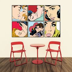 Comic Drama Romance Adhesive Wall Decal
