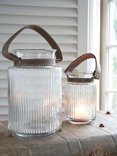 Rilled Glass Hurricane Lanterns