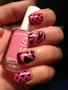 Pink and black water marble and polka dots, this is really pretty!