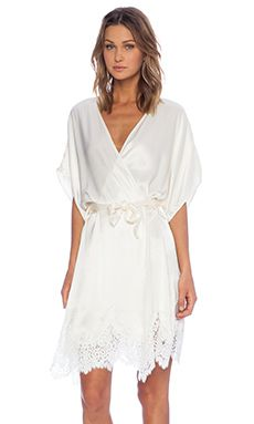 SKIVVIES by For Love & Lemons She's a Knockout Robe in Ivory
