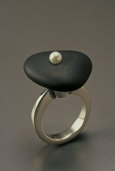 "Ring | Tom McCarthy. ""Janis"". Sterling silver, river rock and pearl"