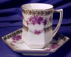 Hexagonal demi-tasse/chocolate cup & saucer