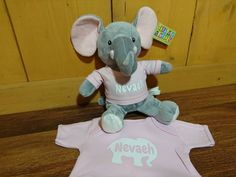 Custom Toddler T With Matching Stuffed Animal Elephant Custom Colour Name And Sizes Available by sugar2silk on Etsy