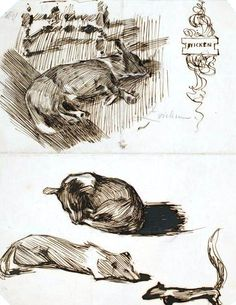 Animal - Dog - Study of sleeping dogs  vintageprintable.com/wordpress  Free Vintage images!