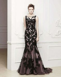 ★★New Stock Mermaid Long Black Wedding Dress Evening Formal Prom Gown Size 6-16★