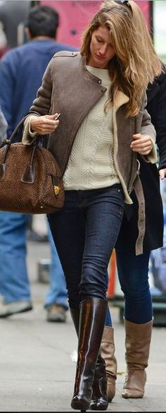 Who made Gisele Bundchen's boots, white sweater, blue skinny jeans, brown shearling jacket and tweed handbag?
