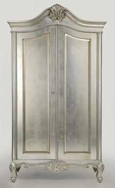 Cristal French Silver Leaf 2 Door Wardrobe Do this to the old armoire Silver Furniture, Hand Painted Furniture, Old Furniture, French Furniture, Furniture Projects, Furniture Makeover, Furniture Design, Furniture Storage, Paint Furniture