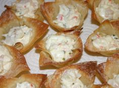 Crab and Chive Baked Ragoons Recipe.way better fried Seafood Appetizers, Recipes Appetizers And Snacks, Appetizer Dips, Seafood Recipes, Snack Recipes, Desserts, Dip Recipes, Cooking Recipes, Happy Hour Food