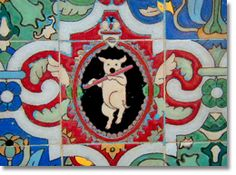 The colorful and elaborate tile work pictured here was created for the Pig & Whistle Restaurant, Hollywood in 1927. Los Angeles was famous for the application of ornamental tile work in homes and commercial buildings especially inthe1920's and 1930's.