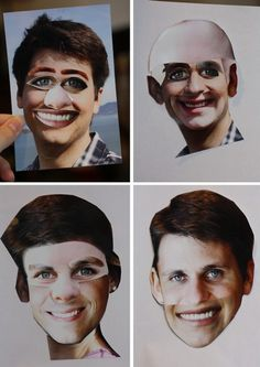 Hilarious baby shower game - Groups cut up Photos of Mom and Dad to combine which features of each they think the baby will have.