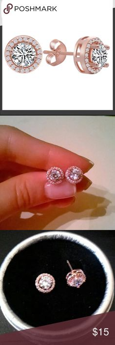 Rose Gold CZ Earrings Just stunning, so sparkly. Rose gold plated, cubic zirconia and rhinestones. Hypoallergenic earrings. Price firm unless bundled. 0.75 carat Jewelry Earrings