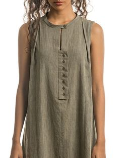Buy Olive Natural-dyed Handwoven Cotton Dress with Stripes Online Dress Neck Designs, Designs For Dresses, Blouse Designs, Linen Dresses, Cotton Dresses, Tunic Dresses, Kurta Neck Design, Kurta Designs Women, Dress Sewing Patterns