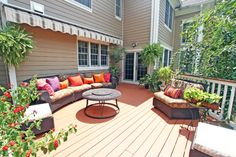 Colorful Deck with Fire Pit in this Chatham NJ home. -SOLD
