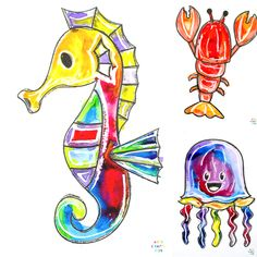 Ocean Animal Watercolor Painting for Kids - An Easy Art Project for Kids Easy Watercolor, Watercolor Animals, Watercolor Paintings, Chalk Pastel Art, Chalk Pastels, Alphabet, Animal Templates, Art And Craft Videos, Ocean Crafts
