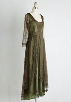 Wine Cellar Celebration Dress in Olive. Dramatically draped in this earthy green dress, you admire the rows of wine bottles in the restaurants cellar. #green #modcloth
