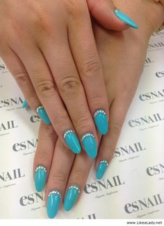 Beautiful blue nails with diamonds
