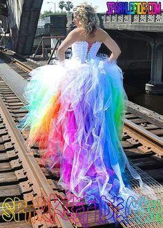 Rainbow sparkle unicorn wedding dress