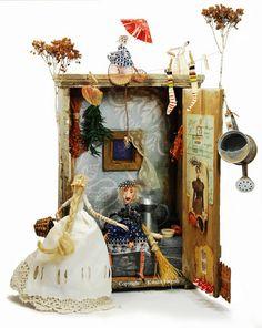 """""""Ládika belülről"""" Art Boxes, Box Art, Illustrations, Dolls, Fun, Baby Dolls, Illustration, Puppet, Doll"""