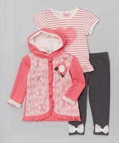 Look at this #zulilyfind! Orange Lace Hooded Cardigan Set - Infant & Toddler by Nannette Girl #zulilyfinds