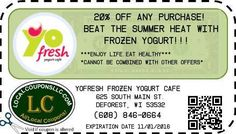 Coupon in Deforest WI for YoFresh Frozen Yogurt Cafe from Local Coupons LLC.