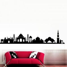 Decal Dzine Welcome To Delhi Silhouette Wall Sticker