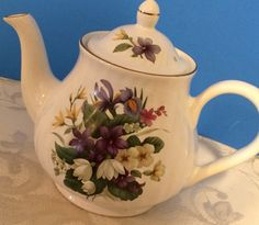 Arthur Wood and Son Staffordshire Teapot, Numbered 6410, Spring Floral, Est. 1884  Made in England by AuntieQsVintage on Etsy