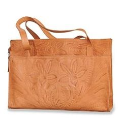 Hand-Tooled Leather Tote in Winter 2013 from Uno Alla Volta on shop.CatalogSpree.com, my personal digital mall.