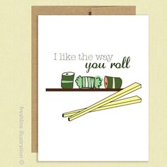 Sushi Funny Card - I Love You - Cute BIrthday - Funny Card - Anniversary - Boyfriend - Girlfriend - Husband - Wife - Greeting Card. $4.00, via Etsy.