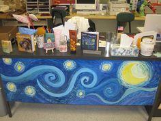 Starry Night Re-mix (painted right on my desk) – Education Posters High School Art, Middle School Art, Art Classroom Decor, Teacher Desk Decorations, Classroom Ideas, Classroom Design, School Classroom, Art Room Posters, School Art Projects